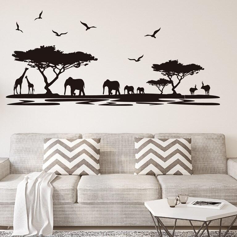 wall decals animale exotice elefant zebra cimpanzeu leu culoare autocolant negru